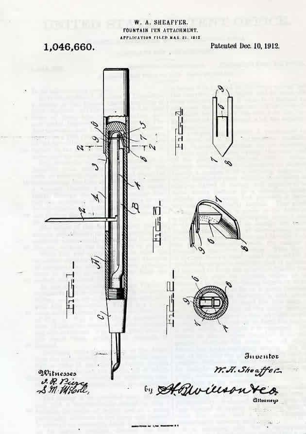 Patente Sheaffer Sistema Palanca 1912