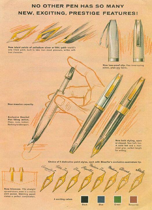 Sheaffer PFM Pen For Men Anuncio 1959 plumines