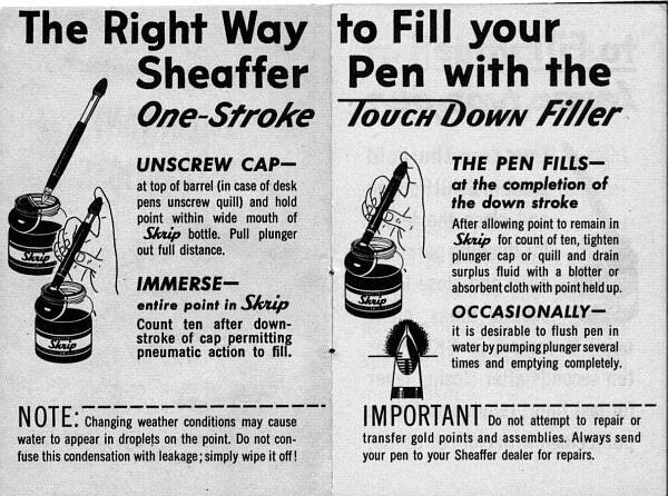 Sheaffer Touchdown instrucciones
