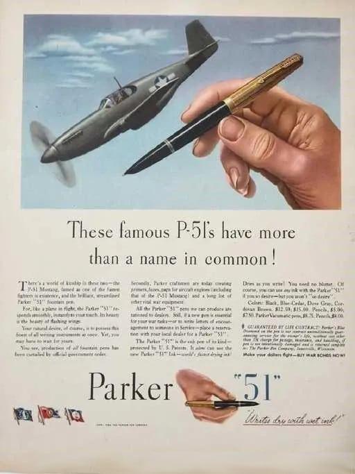Anuncio de la pluma Parker 51, comparando su diseño con un Munstang 51