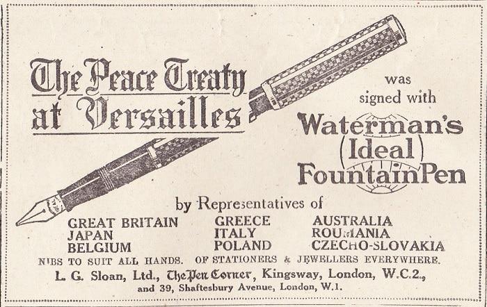 Anuncio Waterman Pluma Fifma Tratado de Versalles
