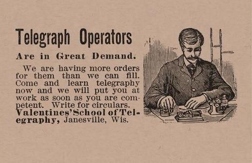 Anuncio de la academia de telegrafía