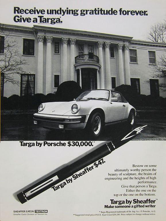 Anuncio de una Targa comparada con un Porsche