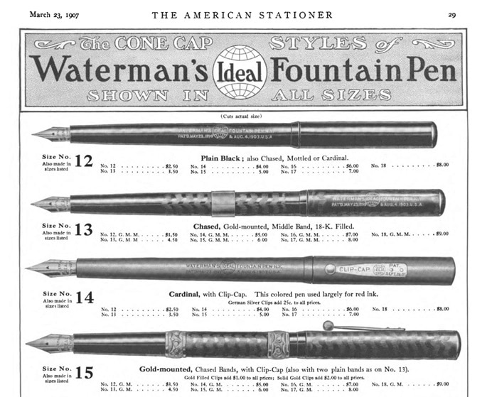 Catálogo de plumas Waterman Ideal 1907