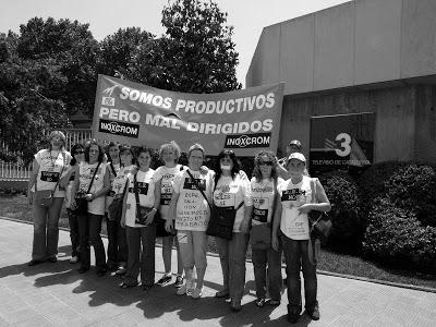 Manifestación trabajadores Inoxcrom ERE en TV3