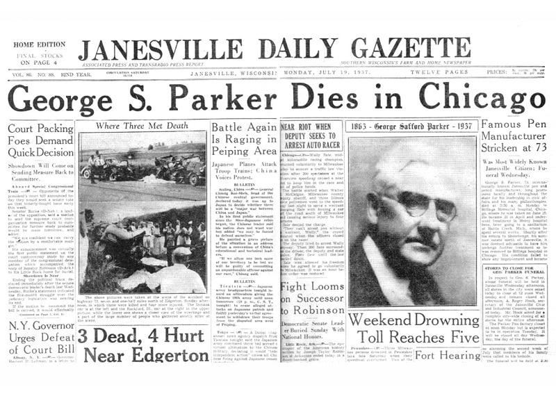 Noticia muerte George S Parker