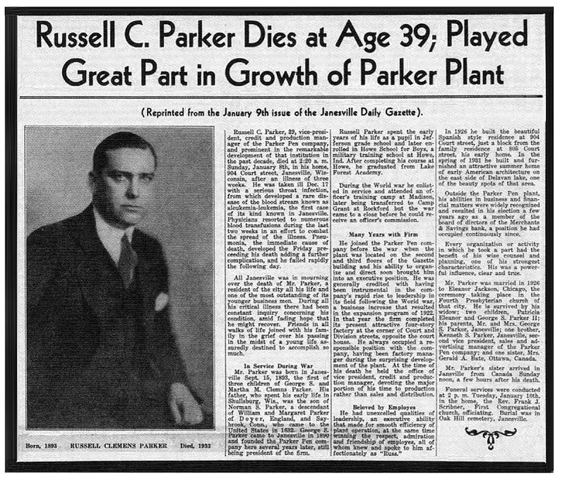 Noticia muerte Russel Parker