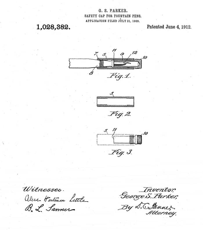 Patente Parker 1909 capuchón
