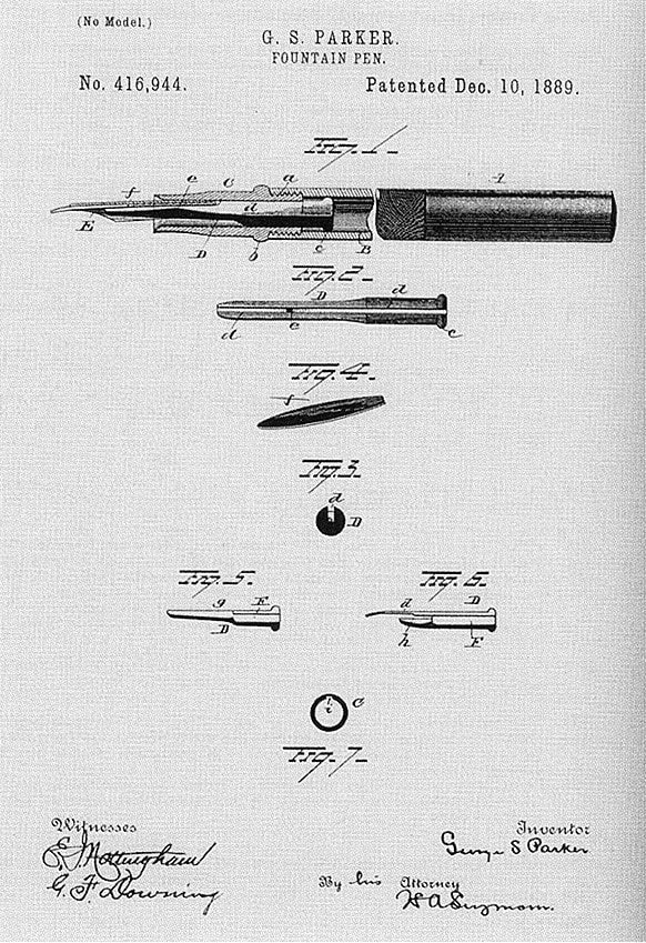 Patente primera pluma Parker 1889