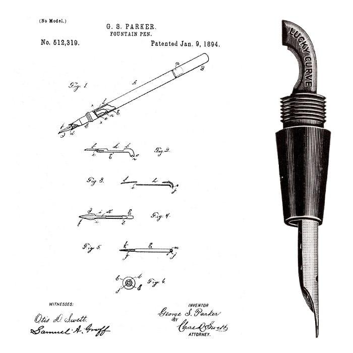 Patente Pluma Parker Lucky Curve 1894