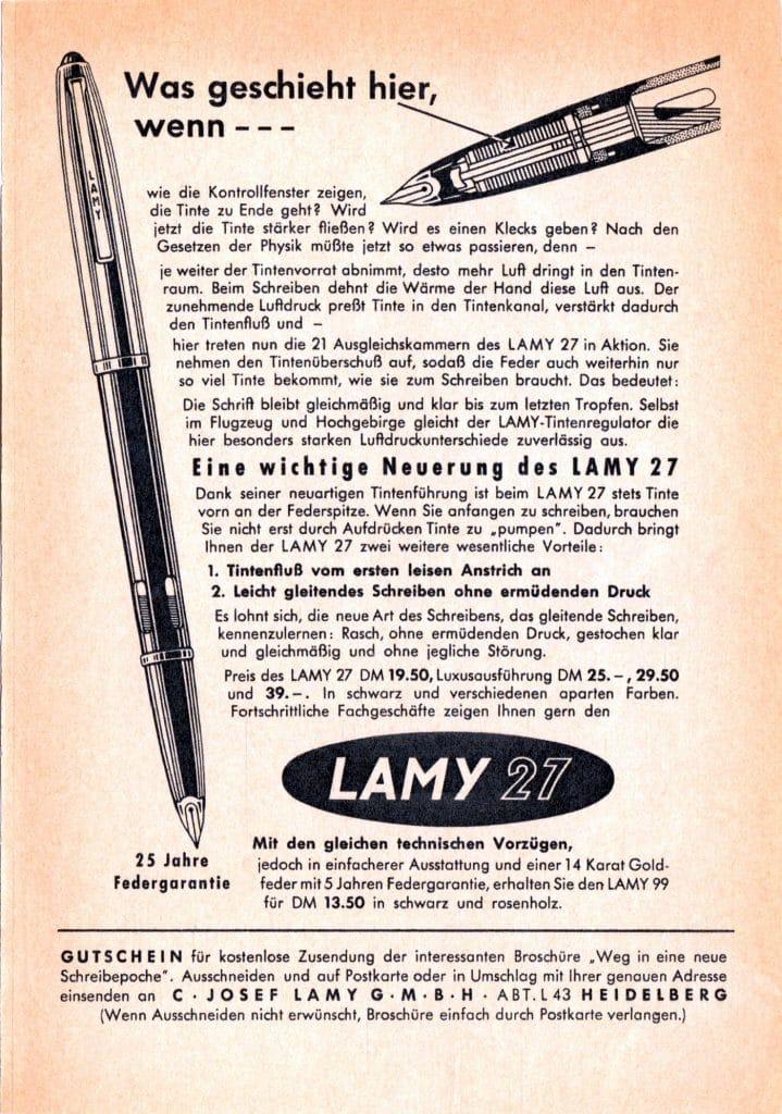 Anuncio de la Lamy 27