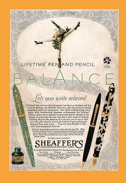 Anuncio de Sheaffer Balance de 1929