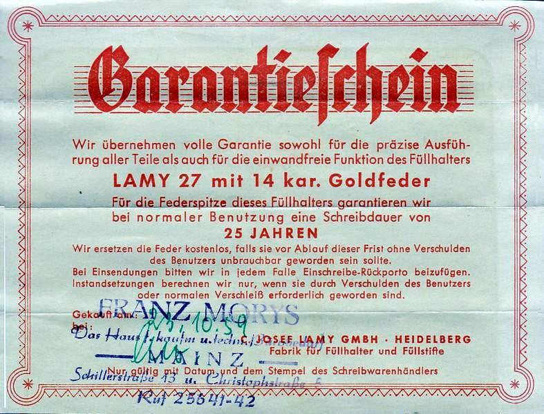 Certificado de garantía de la Lamy 27