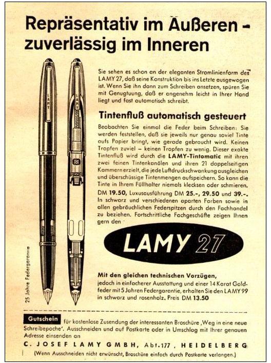 Anuncio en revista de la Lamy 27