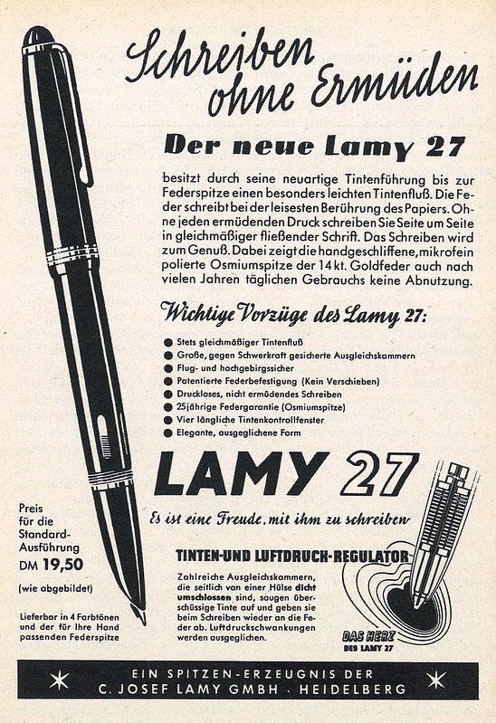 Anuncio en prensa de la Lamy 27