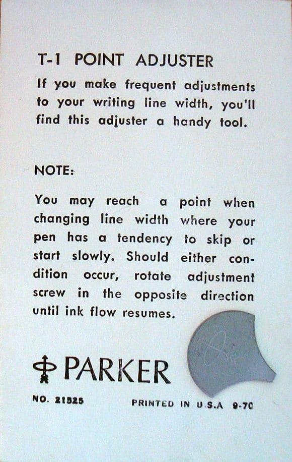 Manual del ajustador de flujo de la pluma