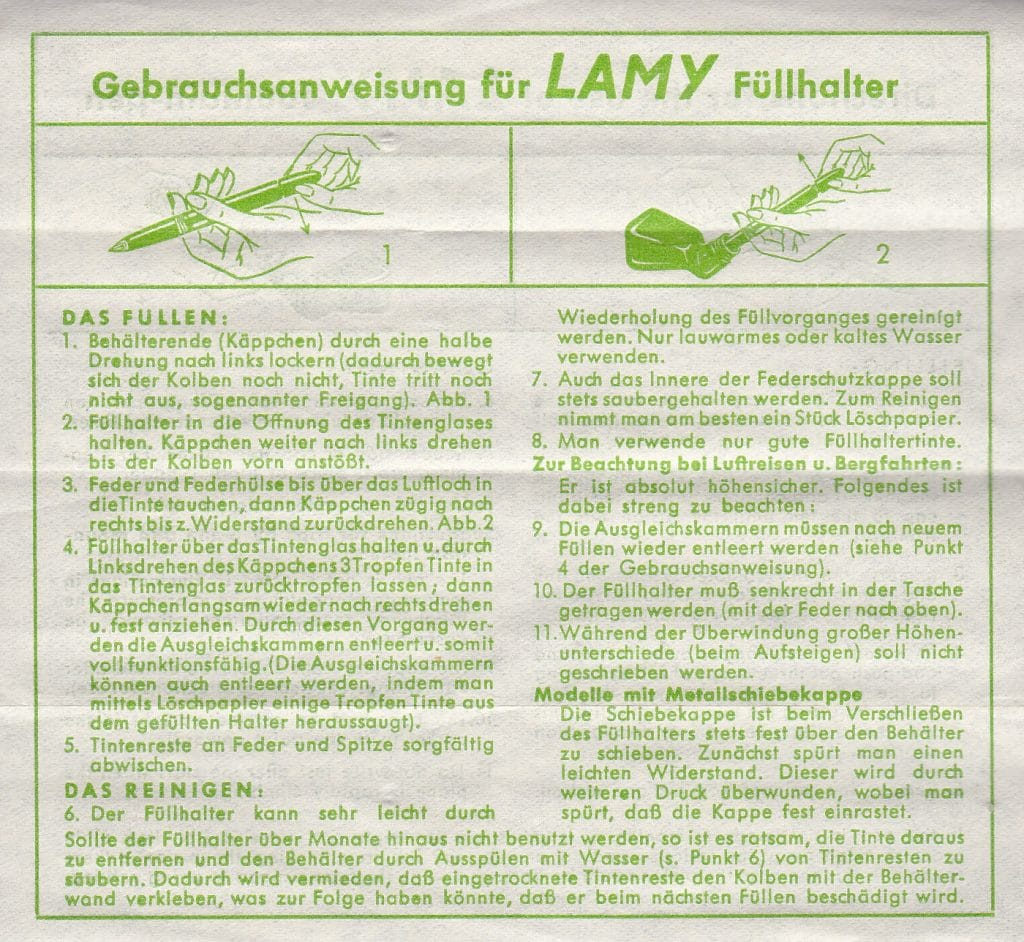 Segunda página de las instrucciones de la Lamy 27