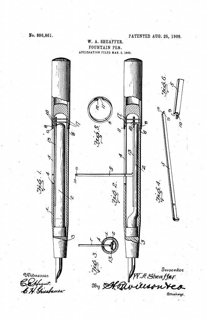 Patente sistema de carga por palanca de Sheaffer