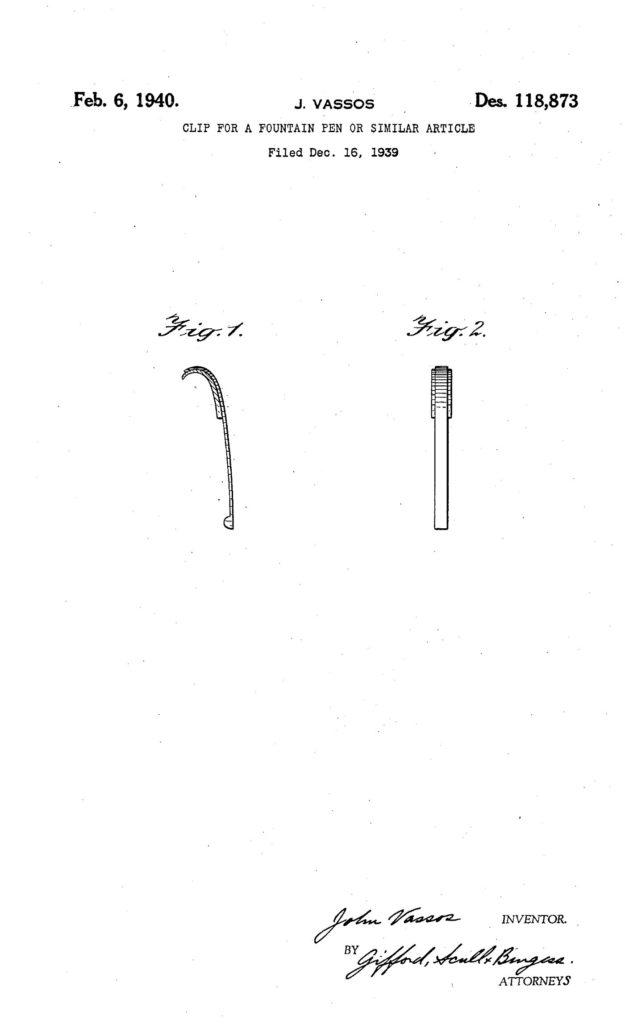 Patente del clip de la pluma Waterman Hundred Year
