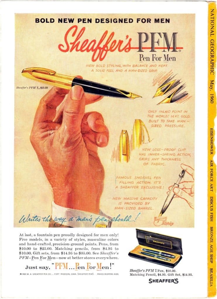 Anuncio en National Geographic de la pluma Sheaferr Pen For Men