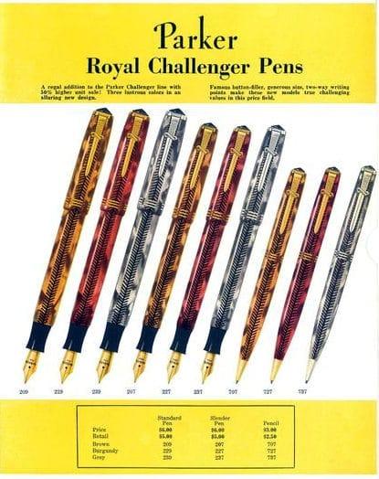 Anuncio de la Pluma Parker Challenger Royal