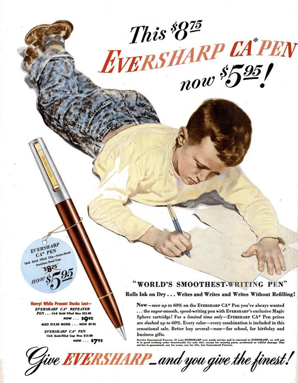 Anuncio Eversharp Bolígrafo CA Fifth Avenue 1947