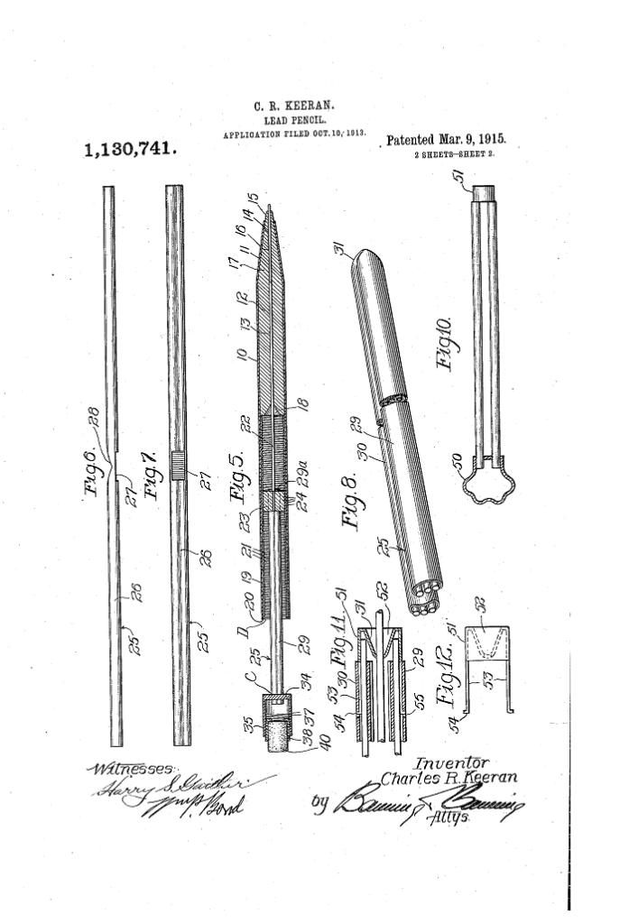Patente US1130741Lápiz mecánico Charles Keeran