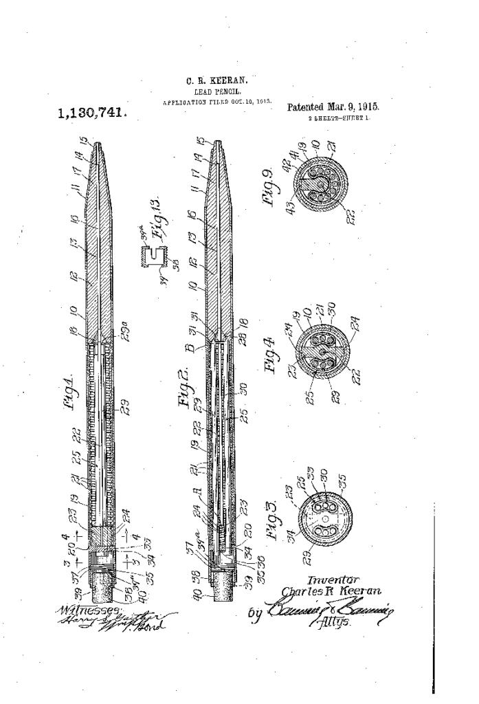 Patente US1130741Lápiz mecánico Charles Keeran 2