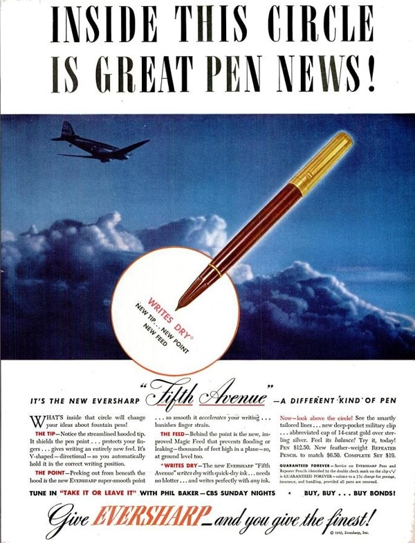 Anuncio Eversharp Fifth Avenue 1943