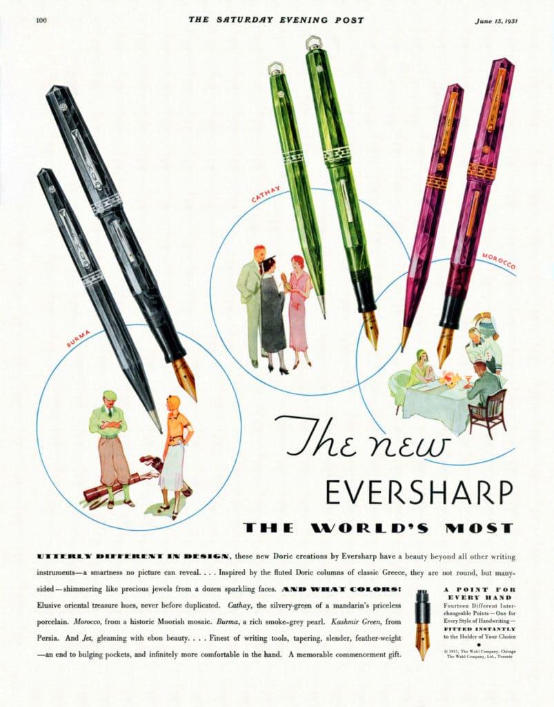 "Anuncio Eversharp Doric en ""The Saturday Evening Post"""