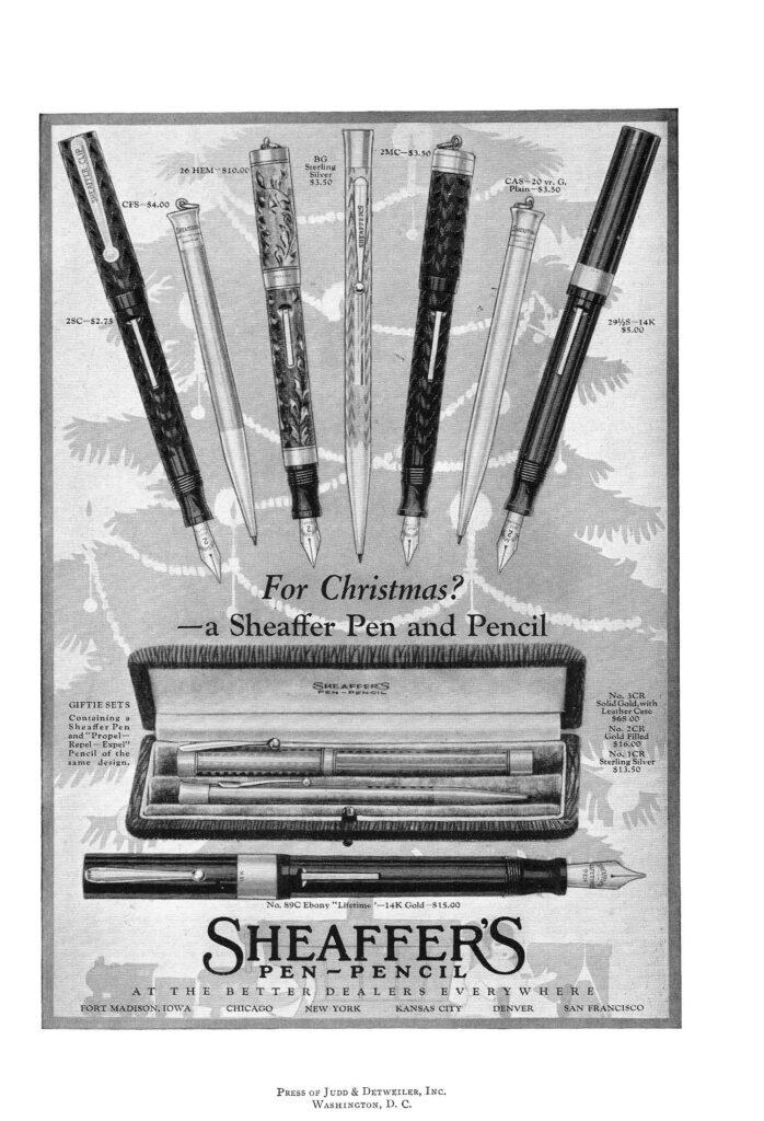 Anuncio de Lifetime de 1921 de lápices mecánicos y plumas