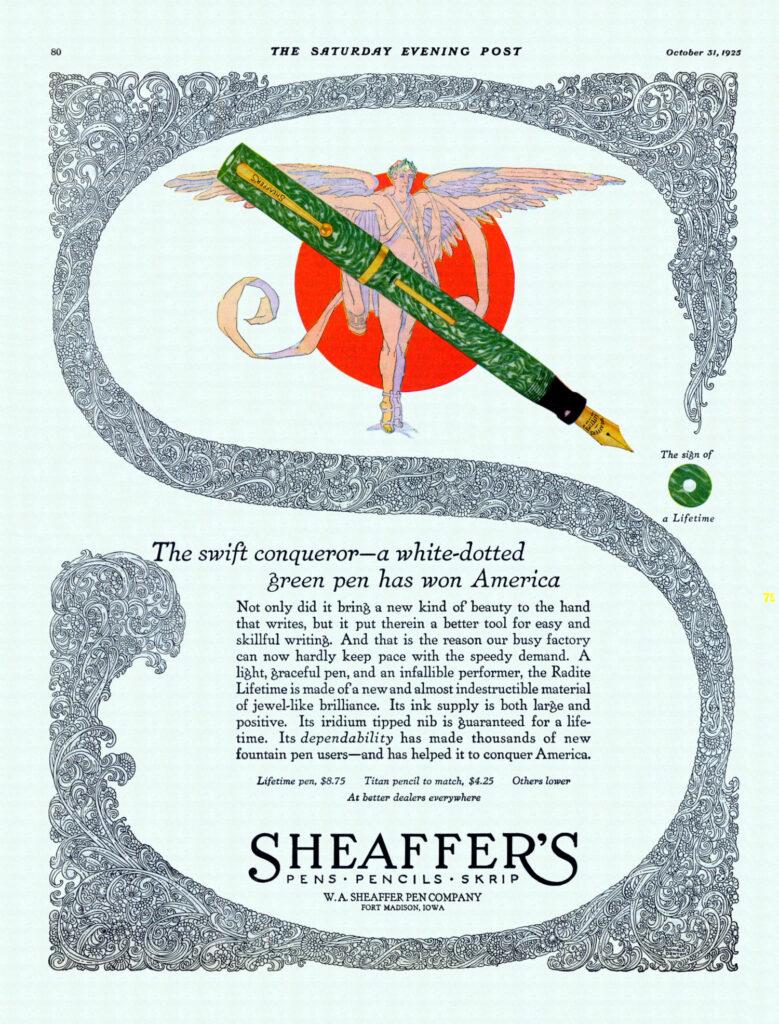 Anuncio de Sheaffer Lifetime de 1925