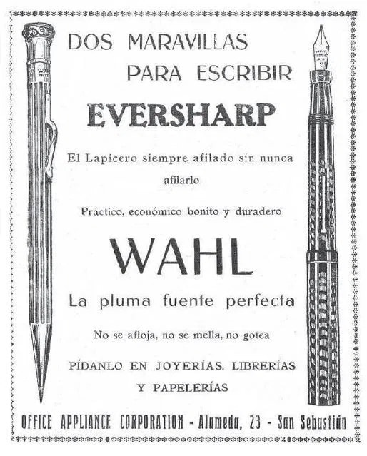 anuncio de Wahl Eversharp en 1921 de Office Appliance Corporation de San Sebastián