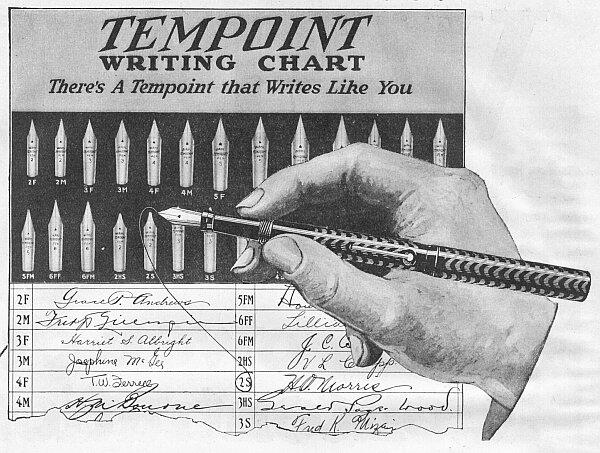 Anuncio pluma Wahl Tempoint Roller Ball Clip 1919