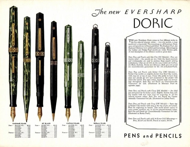 Catálogo Wahl Eversharp Doric con precios