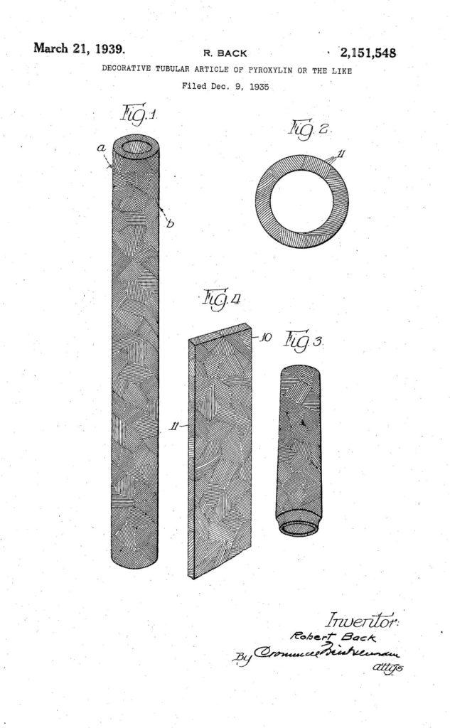 Dibujo de la patente US2151548A sobre los colores de las plumas Eversharp Doric