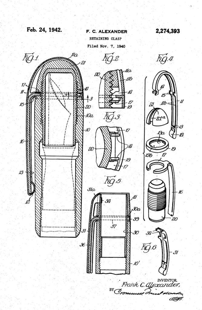 Patente US2274393A del clip de la pluma Skyline