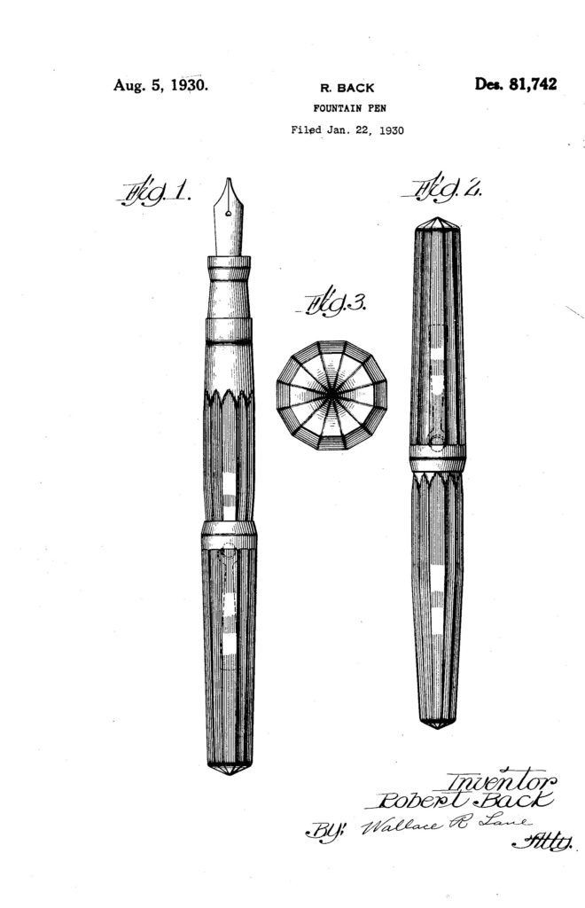 Patente USD81742S de la pluma Walh Eversharp del 22 de enero de 1930