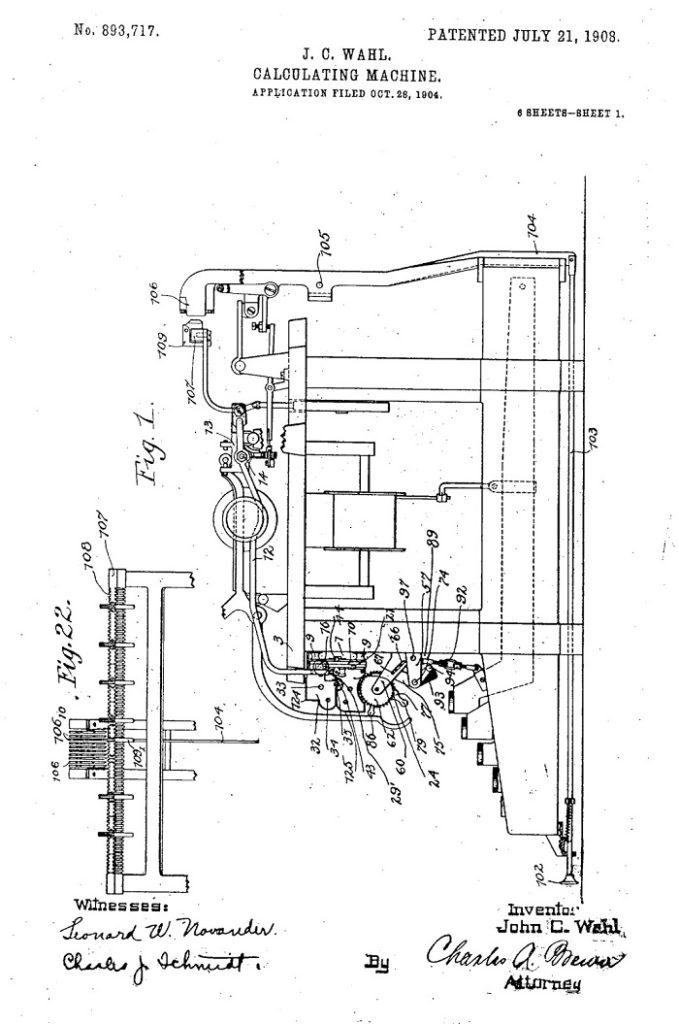 Patente calculadora John C. Wahl 1908
