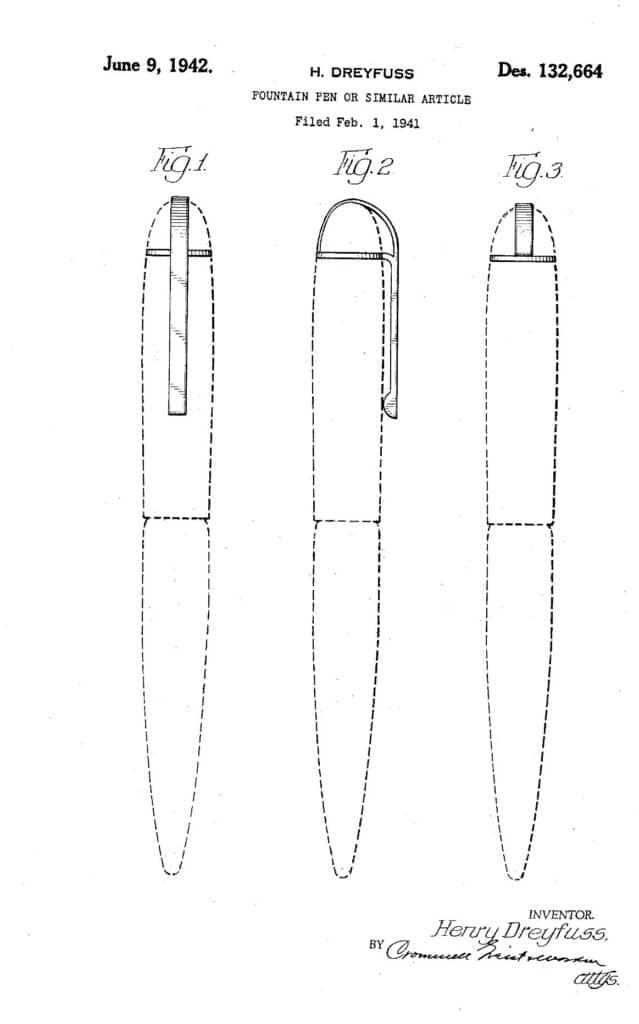 Patente USD132664S de Henry Dreyfuss por la que se patenta en febrero de 1941 el capuchón de la Eversharp Skyliner