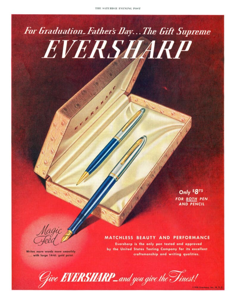 Anuncio de la Eversharp Symphony en la que se destaca el sistema Magic Feed