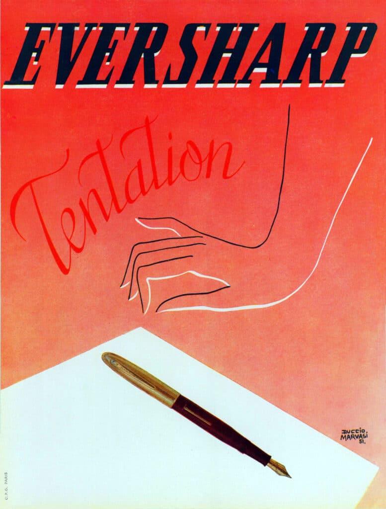 Publicidad de 1951, que anuncia la pluma como una tentación