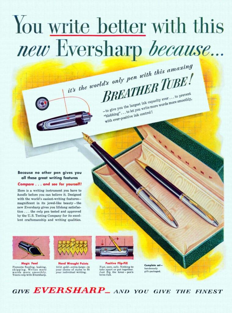 Anuncio de 1951 de la pluma Eversharp Symphony
