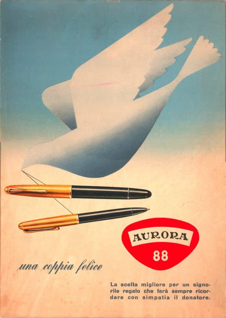 Anuncio de los años 40 de la Aurora 88 junto a su portaminas