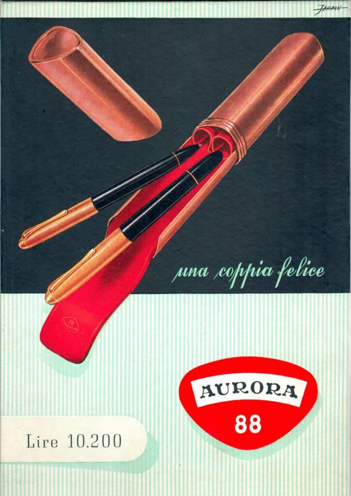 Anuncio de 1948 de la Aurora 88 junto a un lápiz mecánico