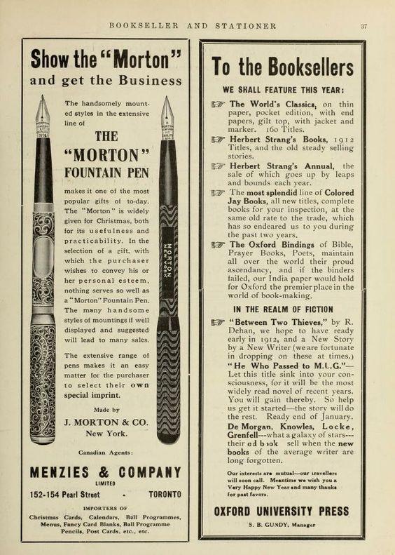 Anuncio plumas J. Morton 1912