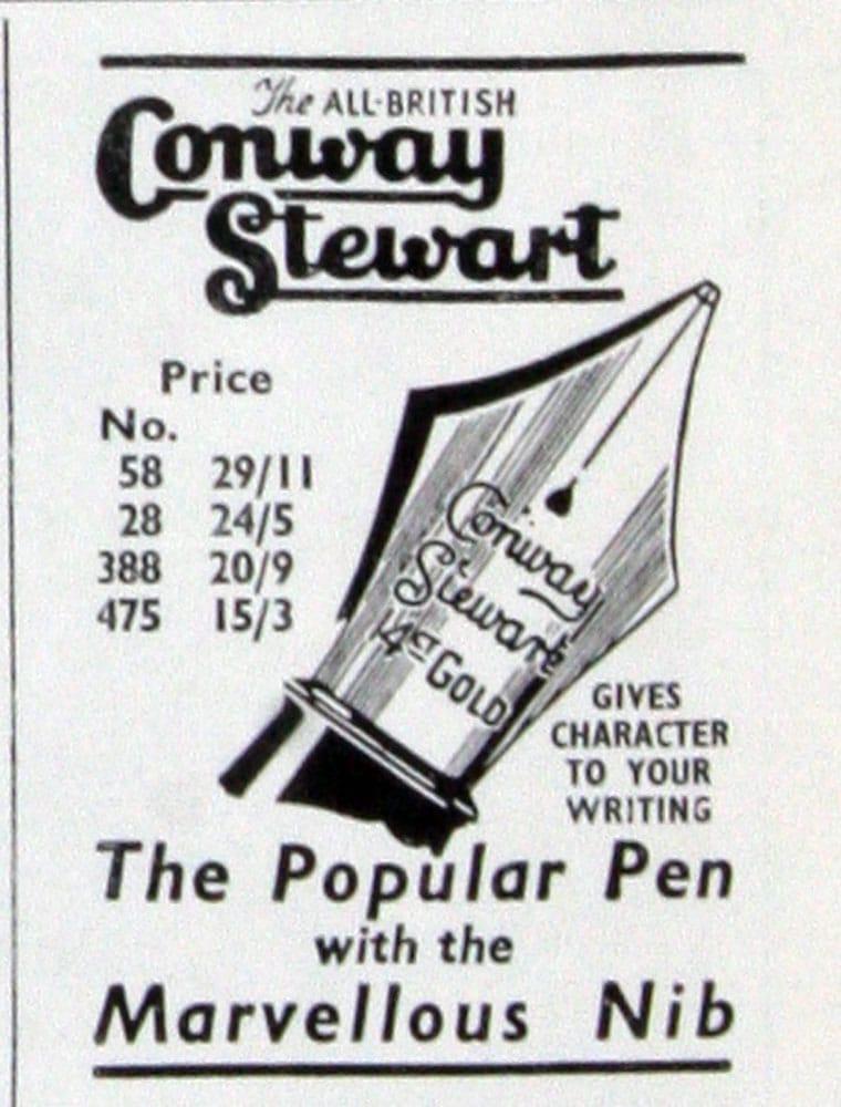 Anuncio Conway Stewart en 1950