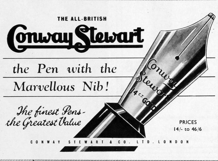 Anuncio Conway Stewart en 1956