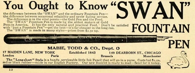 anuncio Swan 1909