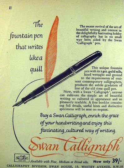 Anuncio Swan Calligraph 1953